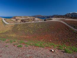 Blick über die Krater auf Nea Kameni, (c) Tobias Schorr, April 2017