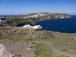 Blick vom Metaxa-Steinburch in Richtung der Halbinsel Akrotiri.