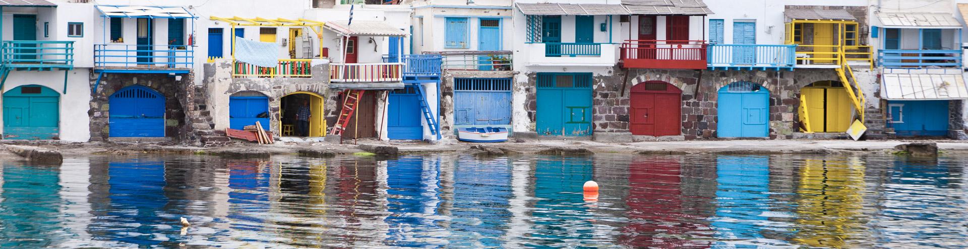 Die bunten Fischerhäuser im Ort Klima